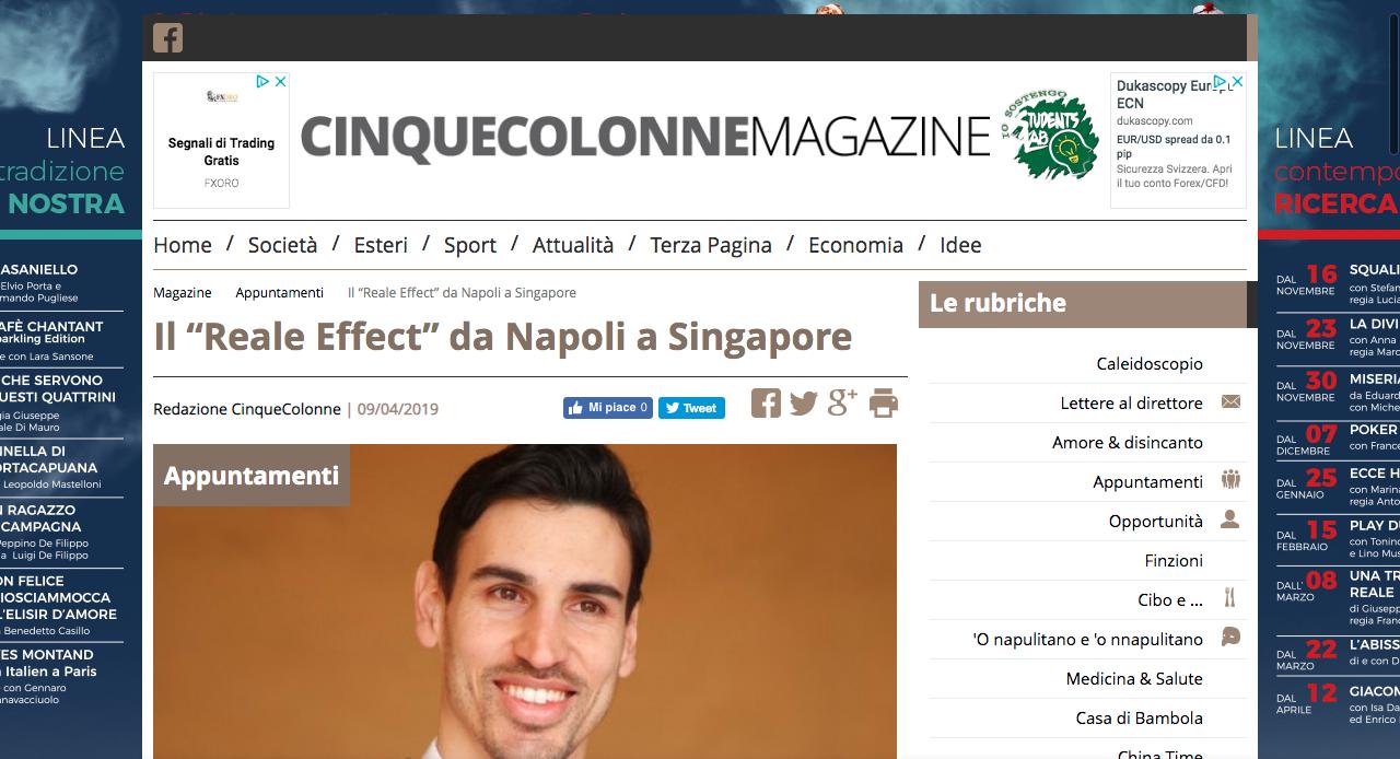 """""""Cinque Colonne Magazine"""" parla del """"Reale Effect"""""""