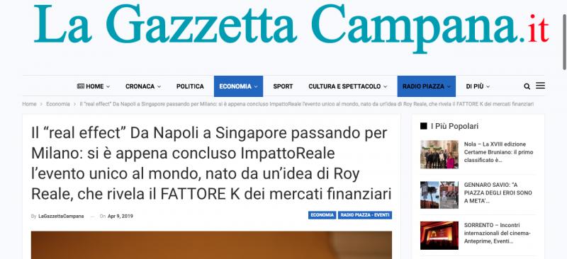 """""""La Gazzetta Campana"""" scrive di ImpattoReale IV"""